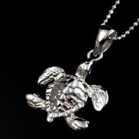 STERLING SILVER 925 SHINY HAWAIIAN SEA TURTLE CHARM PENDANT