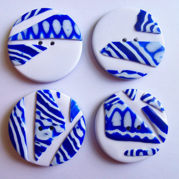 Mosaic Buttons, polymer clay, blue & white, 1 inch, set of 4