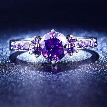 Amethyst Cubic Zirconia Rings Engagement Rings Rings for Women Promise Rings