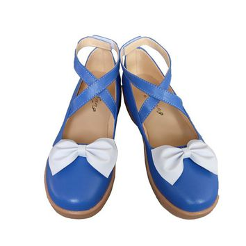 Japanese Anime Vocaloid Cosplay Blue Shoes Comic-con Snow Miku Lolita Shoes Role Play Bowknot boots Comic Fancy costumes