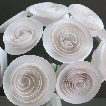 "One dozen White paper roses, table centerpiece, 1.5"" blooms, 12 stemmed flowers, flower arrangement, wedding reception decorations, bridal shower decor"