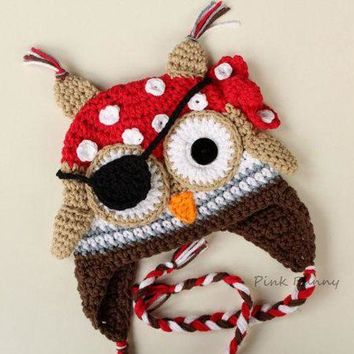 DCCKH6B Christmas gift  Crochet Pirate Owl Hat, Halloween baby hat photo prop 100% cotton Pirate Owl Hat with Earflaps Animal Beanie