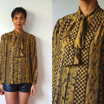 Vtg Neck Tie Yellow & Black Mix Print Button Down LS Blouse