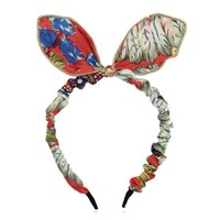 ZLYC Country Style Floral Bow Tie Bunny Ears Headband