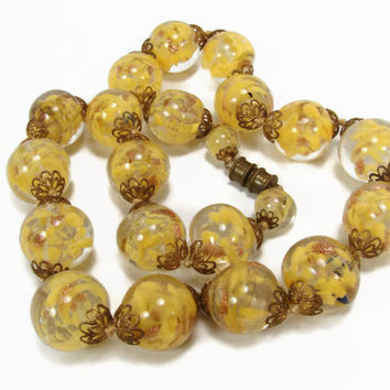 Vintage Venetian Sommerso Necklace, Glass Bead, Art Deco Necklace, Large Beads, Yellow Glass, Estate Jewelry, Gold Aventurine, Necklace
