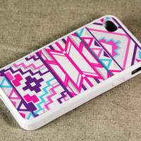 Abstract geometric Pink iPhone 4 iPhone 4S Case Rubber by ACYC