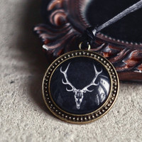 Deer skull unisex necklace  Boho jewelry  Natural by SerejkinDom