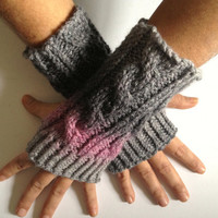 Fingerless Gloves Wrist Warmers in Gray and Pink Ombre Sparkle Handknit