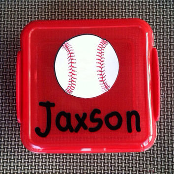 Personalized Baseball Softball Sandwich Holder Personalized Container