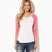 AE Contrast Baseball T-Shirt, Confetti Pink | American Eagle Outfitters