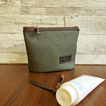Cosmetic case, Shaving set, Toiletry Bag, Travel pouch, Light khaki, Set of bags, Wash Bag, Synthetic canvas, Water-resistant,  Wedding gift