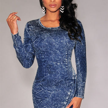 Acid Wash Long Sleeve Asymmetrical Bodycon Mini Dress