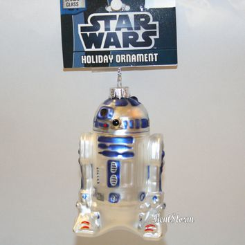 Licensed cool Disney STAR WARS R2D2 Droid Robot Glass Blown Christmas Holiday Ornament NWT