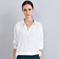Collared V-Neckline Long Sleeve Top