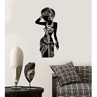 Vinyl Wall Decal Silhouette African Woman Africa Ethnic Stickers Mural Unique Gift (ig3396)