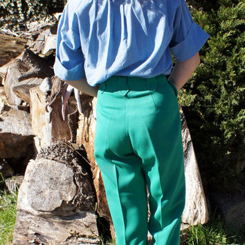1950's, H Bar C, Ranchwear, Rockabilly High Waist Green Wool Pants