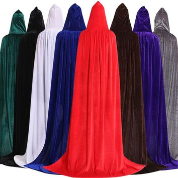 Kenancy Hooded Cloak Long Velvet Cape for Christmas Halloween Cosplay Costumes