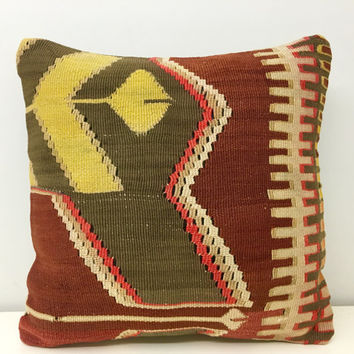 "Colorful kilim pillow, 16X16"" Wool Pillow, Turkish Pillow Cover, Rug Kilim pillow, Bohemian Vintage pillow, Ethnic Pillow, Rug Pillow Cover"