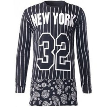 Long Sleeve Paisley 32 Print Striped T-Shirt