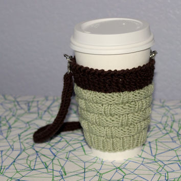 Knitted coffe cozy. Hands-free carrying. Valentine's gift for him. Starbucks Cup sleeve. Pistachio brown Eco-friendly gift under 20 Handmade