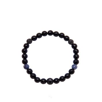 Women's Wristband with Black Agate and Blue Dumorite