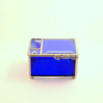 "Cobalt Blue Stained Glass 3 x 4"" Jewelry Box, Home Decor, Keepsake Box, Bridesmaid Gift, Mother's Day Gift"