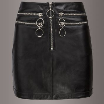 She's a Knockout Faux Leather Mini Skirt with Zipper Detailing