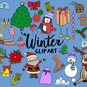 WINTER/HOLIDAY CLIPART, clip art, winter, christmas, kwanzaa, hanukkah, cute, doodles, vector clipart, clipart, doodle clipart, hand-drawn