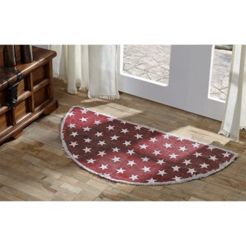 Multi-Star Red - Cotton- Half Circle - 16.5 x 33 - Rug