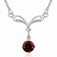 Red Zircon  Silver Necklace