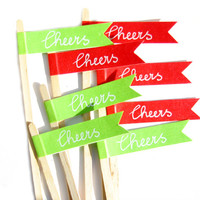 20 Green & Red Christmas Drink Stirrers - Washi Tape Drink Stirrers, Christmas Drink Stirrers, Christmas Party Supplies