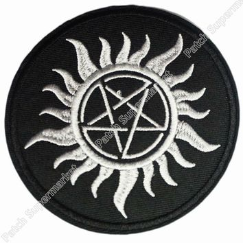 "3.5"" Anti Possession Symbol Anti Demon Supernatural Witchcraft Biker Vest Embroidered IRON ON SEW ON Patch badge"