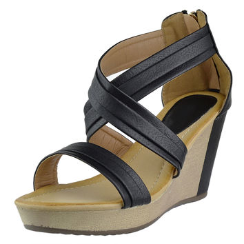 Womens Platform Sandals Cross Strap Two Tone High Wedge Shoes Black SZ