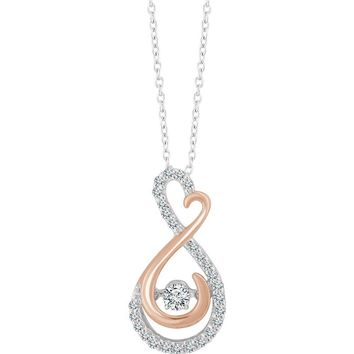 14k White & Rose Gold 1/6 CTW Diamond Infinity Heart Necklace, 16-18in