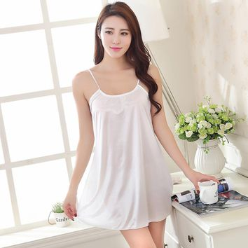 Plus Size Mini Nightgown Pijama Sexy Satin Silky Silk Spaghetti Strap Shirt Dresses Nightdress Home Sleepwear Lingerie Vestidos