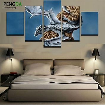HD Printed Pictures Canvas Painting On Oil Paintings Wall For Living Room 5 Pieces Movie Character Cuadros Modular Pictures