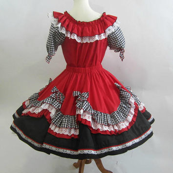 Tamarisk Square Dance Outfit 2 pc Black Red White Elastic Waist Ladies | Flounced and Lace | Sm-Lg | Full Circle Skirt