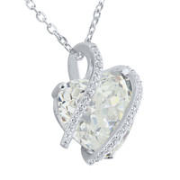 April Birthstone Ladies Real Silver Simulated Diamond Heart Charm Set
