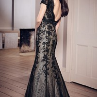 Laced Tulle and Taffeta Gown by Mori Lee VM