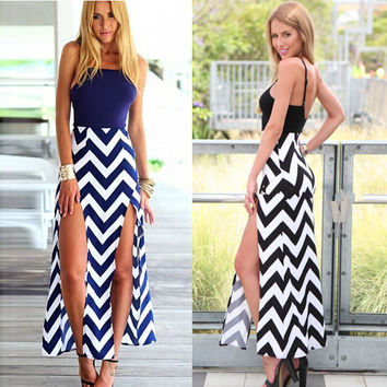 Spaghetti Straps Wave Stripe Print Maxi Dress with Double Slit