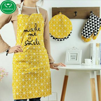 cotton women aprons creative printed Funny kitchen apron with pocket hand towel hot household cleaning accessories cooking apron