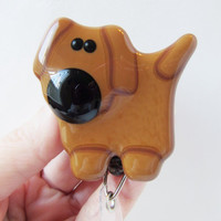 Retractable ID Badge Holder, ID Card Holder, ID Badge Reel, Whimsical Glass Dog, Dog Lover Gift, Gift for Dog Lover