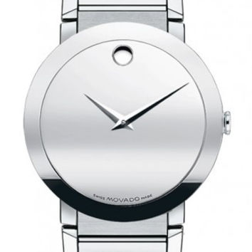 Movado Sapphire Men's Silver Mirror Dial Stainless Steel 38mm Watch 0606093