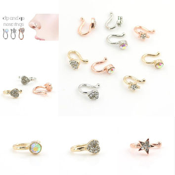 Fashion 3 Colors Multi Style Crystal Unique Star Heart Nose Clip Pretty Noseclip Fake Nose Ring Faux Piercing Septum Body Jewelr