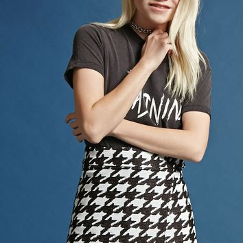 Houndstooth Print Wrap Skirt