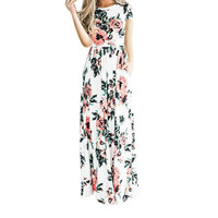 Gorgeous White Short Sleeve Floral Maxi Dress with Pockets PERFECT for Summer