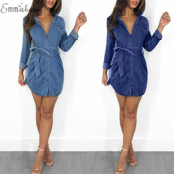 f8f41888aea3 Women Denim dress Pockets Cowboy dress women dress 2018 summer s