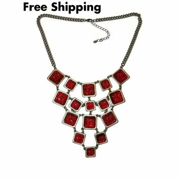 "Vintage Statement Deep Red Acrylic Square Bronze Bib Necklace 18""-20"""