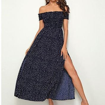 Navy Off Shoulder Frill Trim Shirred Split Thigh Polka-dot Dress Women Fit and Flare High Waist Maxi Dresses