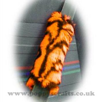 Orange and black tiger stripe fuzzy faux fur seatbelt pads 1 pair